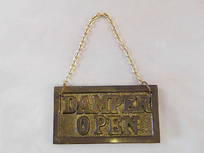 Vintage Brass Fireplace Damper Open Closed Chain Sign