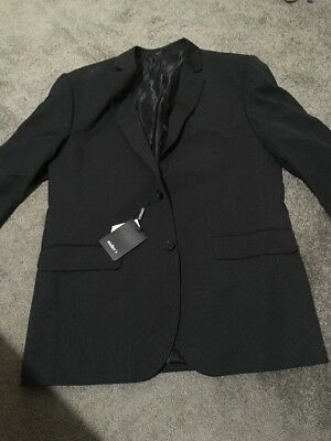 BNWT Mens Black Pinstripe Long Sleeve Suit Jacket Size 42S