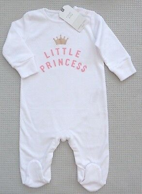 NEW BNWT NEXT Baby Girls White Pink Little Princess Sleepsuit Babygrow 3-6months