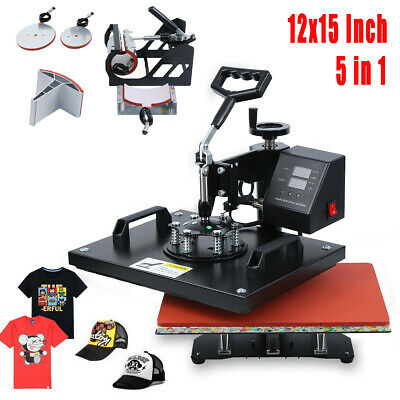 Swing Away 5 in 1 Digital Heat Press Machine Sublimation T-Shirt/Mug/Plate Hat