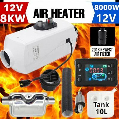 Aluminum 8KW 12V Air Diesel Heater Tank Vent, Duct, LCD Thermostat Caravan NEW~~