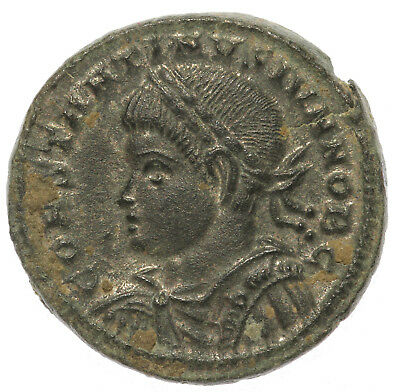 ROMAN BRONZE COIN FOLLIS CONSTANTINE II AS CAESAR CAMP GATE TRIER AE19 3,80g