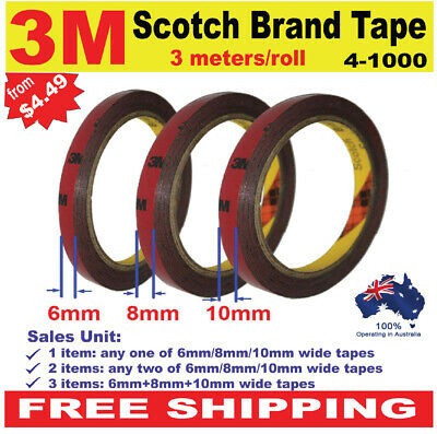 3M Automotive Acrylic High Strength Double Sided Foam Adhesive Tape 3mx 6/8/10mm