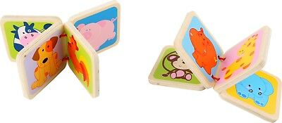 Mini Wooden Toddler Set Of 2 Books, Exotic & Domestic Animals Early Reading