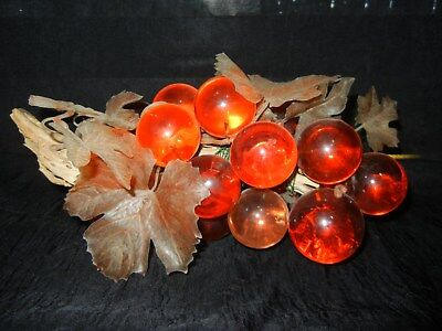 Mid-Century Amber Acrylic Lucite & Resin Grape Vine Cluster on DRIFTWOOD