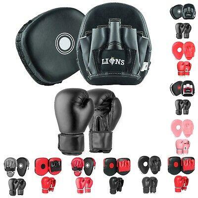 JUNIOR BOXING GLOVES AND FOCUS PADS SET Punch Bag Sparring Kids Training Mitts