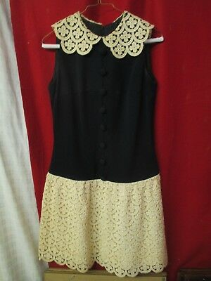 Vintage 1960's Sydney North Dress black polyester & heavy thick Lace