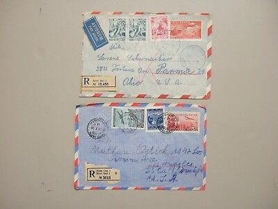 Two '50 Yugoslavia registered postal stationery envelopes