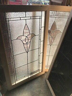 Sg 2537 two available price separate antique textured glass tulip windows 26.25
