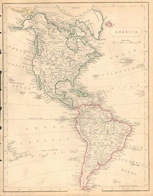 1840 Antique Map- The Americas, North And South