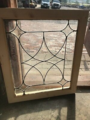 SG 2544 antique four point Belval leaded glass window 24.25 x 28.5