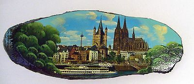 Koln Cathedral Souvenir Wall Plaque - Painting on a log Section