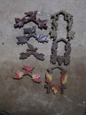 Vintage Wooden  Cuckoo Clock Parts Top Topper (4) & Face Trim (3) Germany