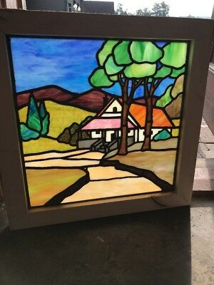 SG 2547 antique Stainglass window cottage and trees 25.25 x 24.5 Hi