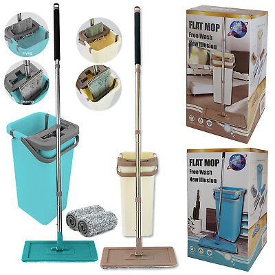Home Wash & Dry Flat Mop Bucket All Floor Cleaning System with Two Mop Head Pads