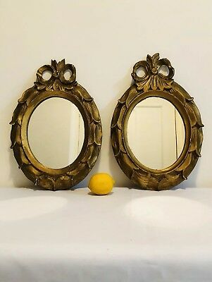 Pair Of Antique Victorian c1870 Gilt Wood Oval Mirrors, Looking Glasses
