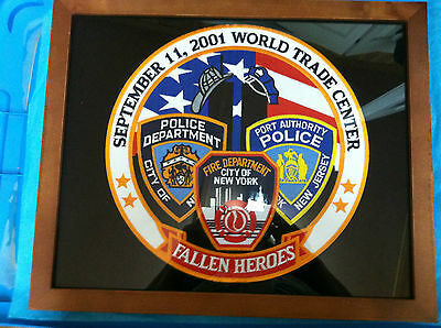 Nyc World Trade Center 911  Fallen Heroes 9 -11- 2001 Patch-Framed 11 1/2 X 12
