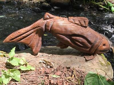 Vintage Hand Crafted Cryptomeria Fish Wood Carving