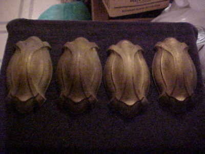 "4 NOS Art Nouveau Brass Electric Wall Sconce Back Plates 8-3/4"" by 4-3/4"""