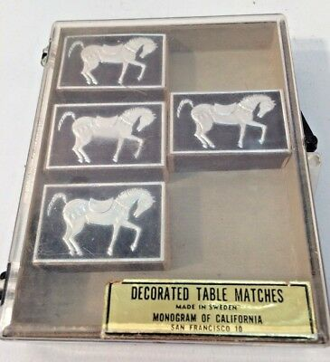 4 Decorated Table Matches Horses Sweeden Made Monogram of California Vintage