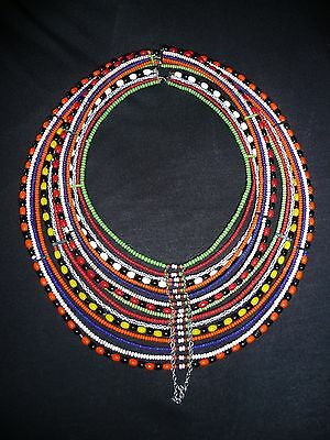 """African Maasai Beaded Necklace (top to bottom about 11""""; left to right is 9"""")w"""