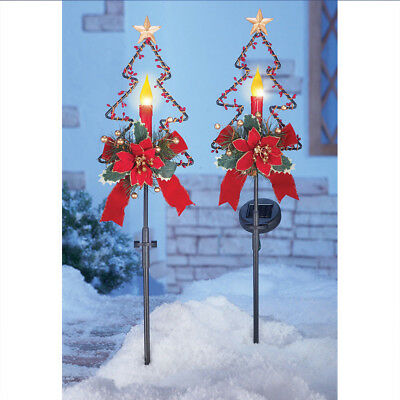 christmas lighted stakes 2pcs yard candle decoration outdoor xmas solar lights - Solar Christmas Yard Decorations