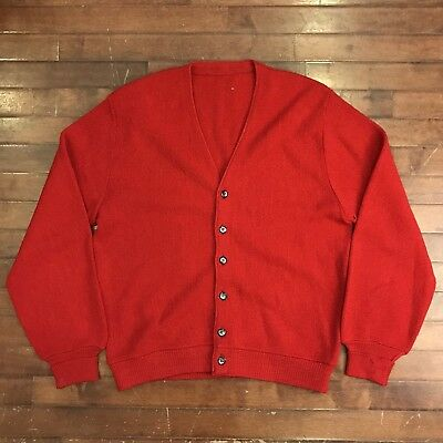 Robert Bruce Arnold Palmer Mens Medium Vtg 60s Red Alpaca-Wool Cardigan Sweater