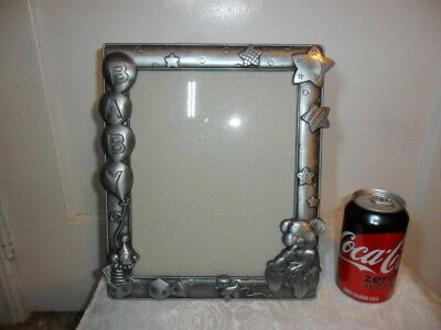 "Pewter Baby Large Photo Frame - 11.5"" Tall X 9.5"" Balloons,stars,teddy Bears Etc"
