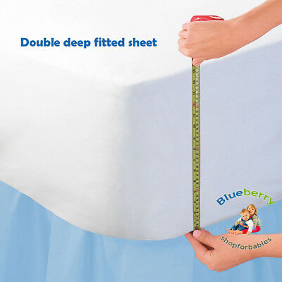 """BlueberryShop LUXURIOUS JERSEY COTTON 16"""" EXTRA DEEP Fitted Bed Sheet  Double"""