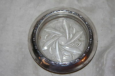 Vintage Amston 144 Sterling Silver & Glass Coaster Nice