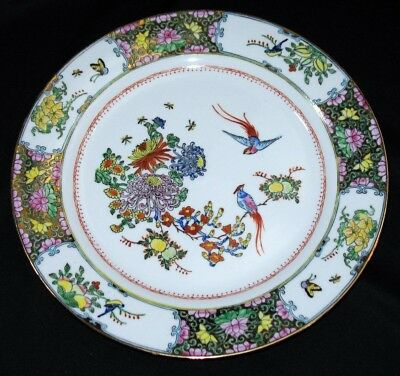 Beautiful Chinese Birds Canton  Hand Painted Enamel Dinner Plate Gold Gilding