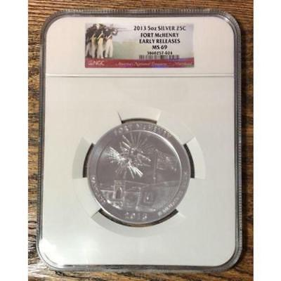 2013 5oz Silver Fort McHenry Quarter NGC MS69 **Rev Tye's Coin Stache** #7024139