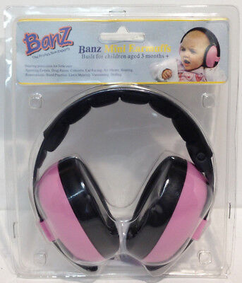 Banz Baby Toddler Mini Earmuffs pink 3+ Months Hearing Protection W13-B1