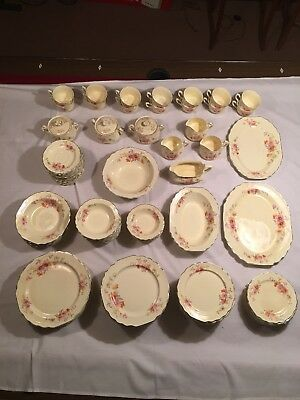 LIDO W.S. George Canarytone China  Orange And Pink Flowers 121 Pieces