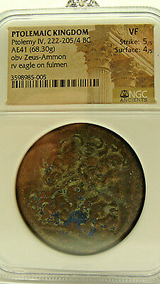 Ptolemy IV 222-205/4 BC, Bronze 42, Ptolemaic Kingdom, NGC VF Ancient  ac1