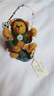 "5"" Bear Fisherman With Fishing Pole & Fish Figure Figurine Christmas Ornament"