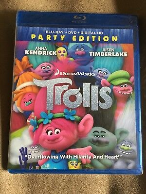 Trolls (Blu-ray/DVD, 2017, 2-Disc Set, Includes Digital Copy) NEW