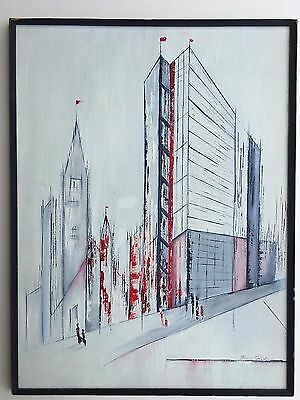 Vintage Illegible Signature Abstract Modernist MCM Skyscraper Cityscape Painting