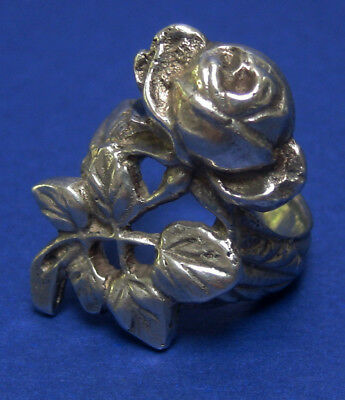 Vintage Peruzzi Coppini Art Nouveau Style 800 Silver Rose Leaves Ring In Size 6
