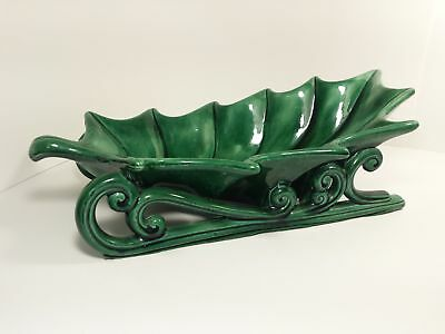 Vintage Large Atlantic Mold Ceramic Christmas Holly Leaf Sleigh Dish 16""