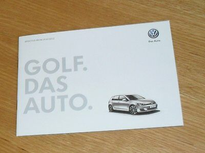 Volkswagen VW Golf Mk7 Price Guide 2012-2013 - S SE GT - 1.2 1.4 TSI 1.6 2.0 TDI