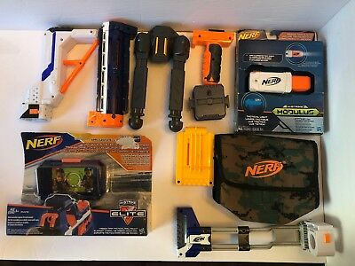 🇨🇦NERF🇨🇦 Modulus N-Strike Elite Accessory Lot Bipod Stock Barrel Ammo