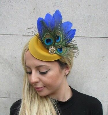 Royal Blue Green Mustard Gold Yellow Feather Hat Hair Clip Fascinator Races 6298