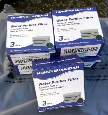 5 X HoneyGuaridan W25/W18 Pet Water Fountain Replacement Carbon Filters (3 pack)