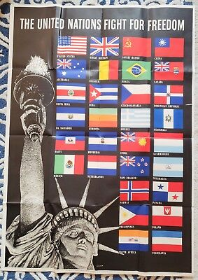 United Nations Fight for Freedom World War II 1942 Poster Flags & Lady Liberty!