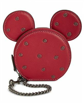 COACH X DISNEY MINNIE MOUSE COIN CASE RED with GLITTERY POLKA DOTS
