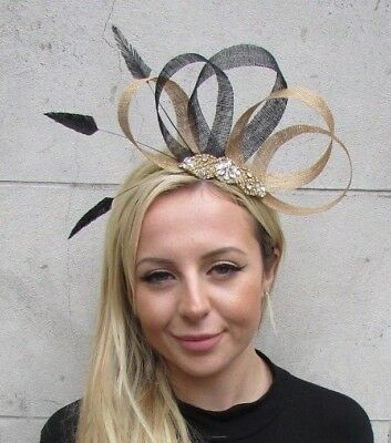 Black & Gold Feather Fascinator Sinamay Diamante Wedding Races Hair Hat 6300