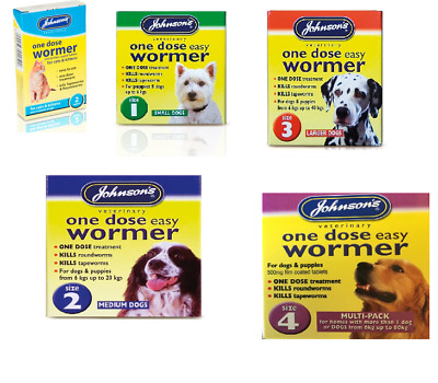 Johnsons One Dose Easy Wormer Dog & Cat Tapeworm & Roundworm Worming Tablets