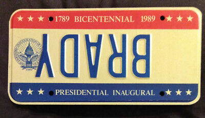 1989 District Of Columbia Brady Error Inaugural Inauguration License Plate