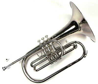 Advanced Monel Pistons Marching Mellophone Key of F w/ Case Nickel Plated Finish